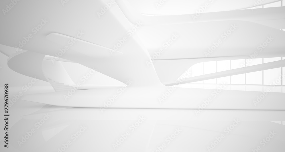 Fototapety, obrazy: Abstract architectural white smooth interior of a minimalist house with large windows.. 3D illustration and rendering.