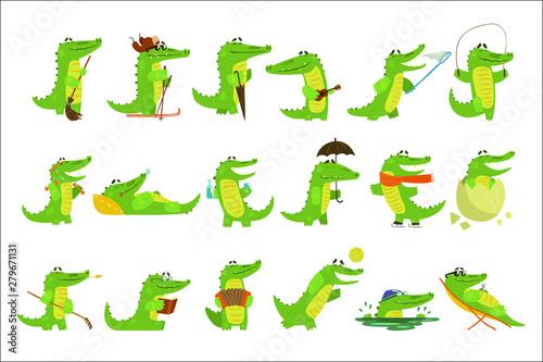 Canvastavla Humanized Crocodile Character Every Day Activities Set Of Illustrations