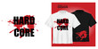 Vector Unisex t-shirt mock up set with red blood spot symbol. 3d realistic shirt template with extreme hard core music icon. Black and white tee mockup, front view design with grunge print