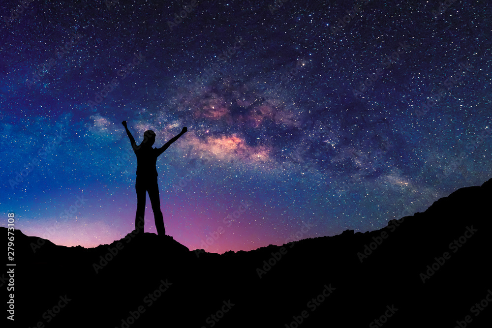 Fototapety, obrazy: Happy freedom woman on the mountain  with starry night sky milkyway. freedom and victory concept.