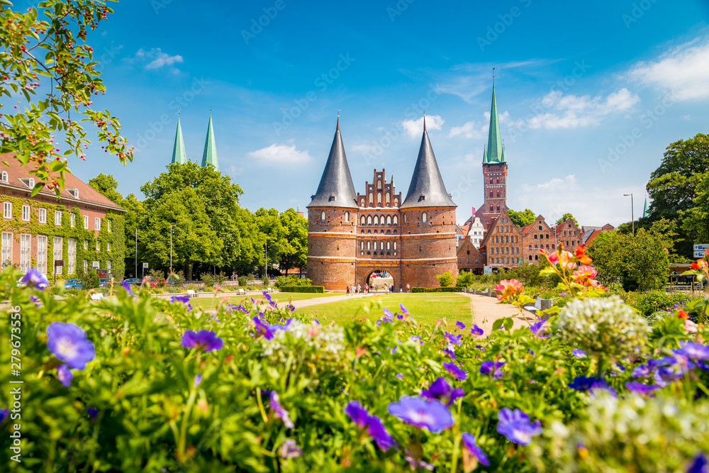 Fototapety, obrazy: Historic town of Lübeck with famous Holstentor gate in summer, Schleswig-Holstein, northern Germany