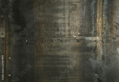 Rusty metal plates with rivets background texture
