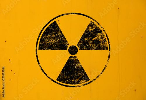 Fotografía Black radioactive sign over yellow background