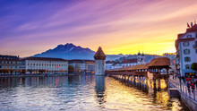 Lucerne, Switzerland; 11/01/2017; Historic City Center With Its Famous Chapel Bridge And Mt. Pilatus On The Background. (Vierwaldstattersee),
