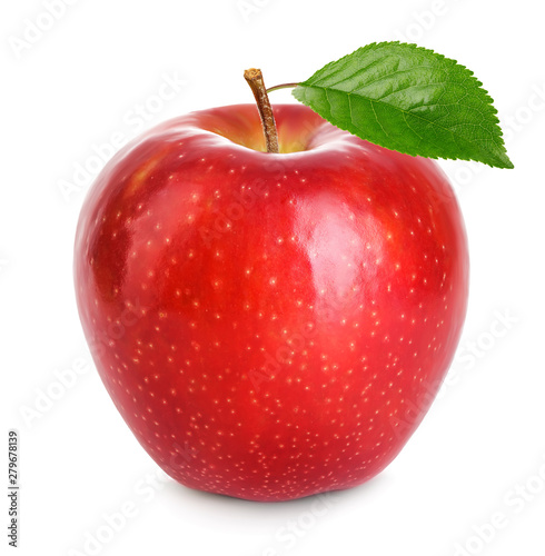 Red apple with green leaf isolated on a white background. Fototapete
