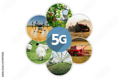 Aufkleber - 5G network for control smart farm. Smart agriculture 4.0.