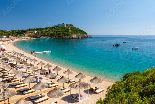 Foto auf Leinwand Beige view on beautiful Jale beach in Himare, Albania
