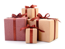 Gift Boxes, Gifts On A White Background Isolated.