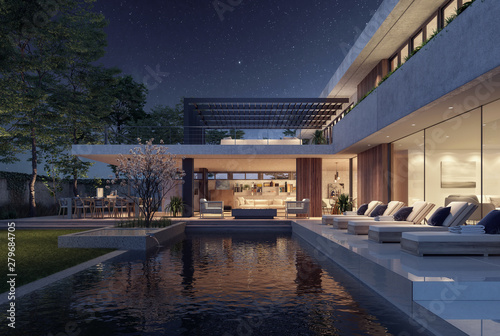 Fotografia Modern house exterior design at night with swimming pool 3D Rendering