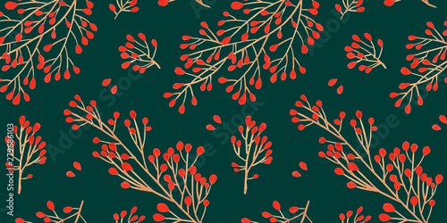 Foto auf AluDibond Künstlich Green Christmas seamless pattern for festival background design. Winter sale fair branding. New Year seasonal celebration greeting card. Pine cone xmas branches with leaves isolated fir on green color