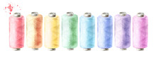 Set Of Sewing Threads In Different Colors. Watercolor Hand Drawn Illustration Isolated On White Background