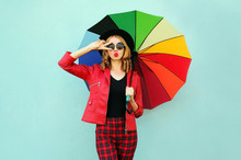 Stylish Young Woman With Color...