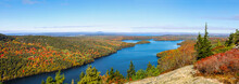 Panoramic Aerial View Of The Blue Water And Fall Foliage Surrounding Long Pond In Acadia National Park