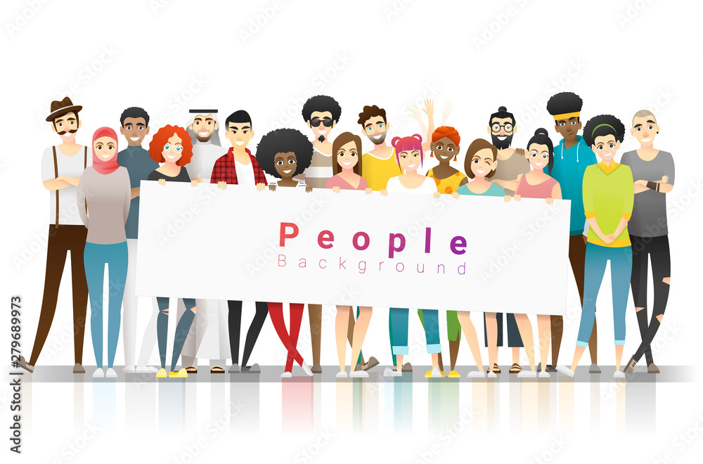 Fototapeta Diversity concept background , group of happy multi ethnic people standing together and holding empty banner , vector , illustration