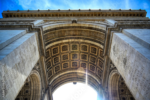 A view of the Arc de Triomphe located in Paris, France. Canvas-taulu