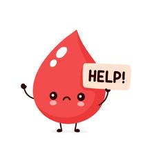 Sad Sick Blood Drop Asks For Help Character