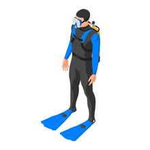 Scuba Diver. A Man In A Diving...