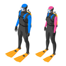 Scuba Diver. Man And Woman In ...