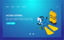 Diving Club. Concept Web Banner Training Dive With Equipment.