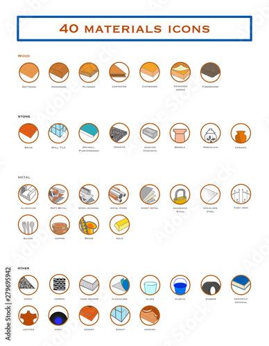 Colección iconos distintos tipos de Materiales. Canvas Print