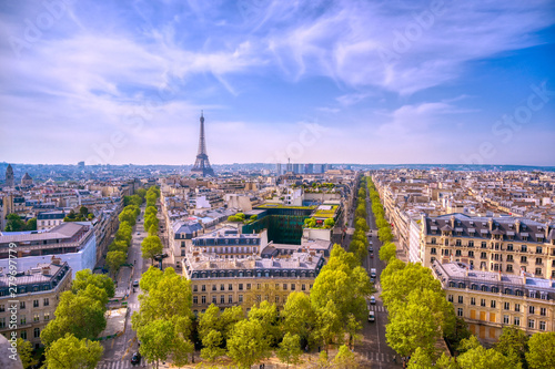 A view of the Eiffel Tower and Paris, France from the Arc de Triomphe. - 279697779