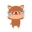 Cute sad cry unhappy dog character