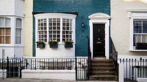 Coloured painted house terraces in London, 2017. Squared format. Wallpaper Mural