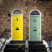 Yellow And Green Doors Of A Te...