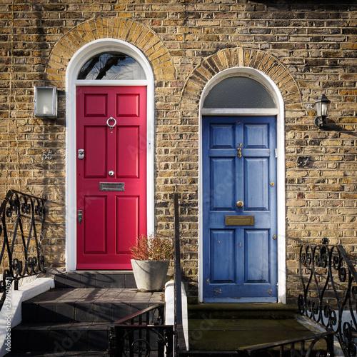 Red and Blue doors of a terrace Georgian house in London (UK). Wallpaper Mural
