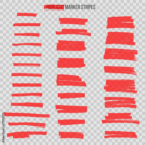Cuadros en Lienzo Red semitransparent highlight marker stripes isolated on transparent background