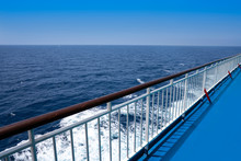 Ferry Cruise Railing In A Blue Sea Ocean