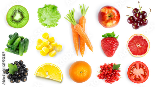 Collection of fruits and vegetables on white - 279703357