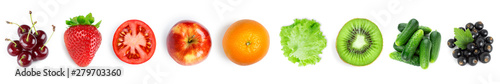 Poster Cuisine Collection of fruits and vegetables on white