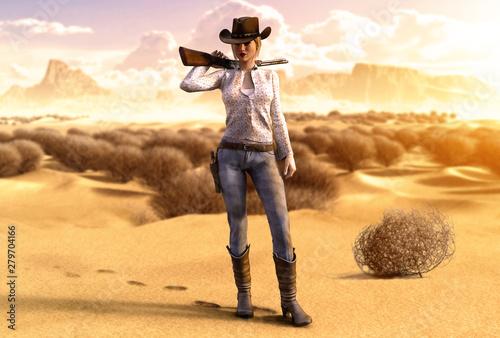 Fotografía  Beautiful Cowgirl with a Rifle in a barren Desert
