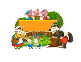 Cartoon fairy tale scene with wolf and title frame with different characters - illustration for children