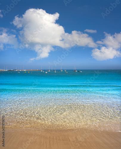 Ibiza Santa Eulalia town beach in Spain