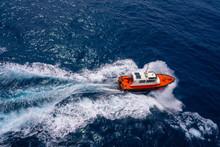 Pilots Boat Aerial View Sailing In Blue Ocean