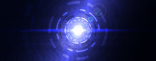 Digital Abstract Lens Flare Space, Science Fiction Time And Space Travel Cosmic Background. Round Futuristic Energy Reactor, Technological Light In The Dark. Technology Background, Hi-tech Concept.
