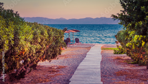 Foto auf Leinwand Hochrote White sandy path between bushes and palm trees leading to beach. Greece, Rhodes