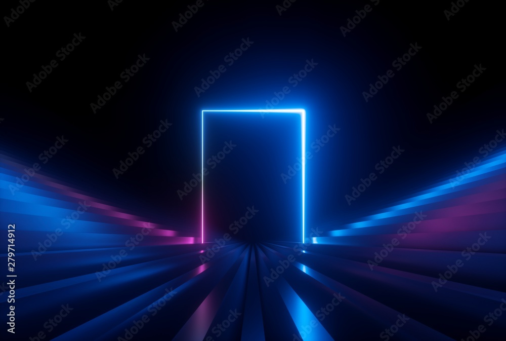 Fototapety, obrazy: 3d render, pink blue neon abstract background with glowing lines, ultraviolet light, laser show, wall reflection, rectangular shape