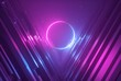 canvas print picture - 3d render, pink blue neon abstract background with glowing ring, ultraviolet light, laser show, wall reflection, round circle shape