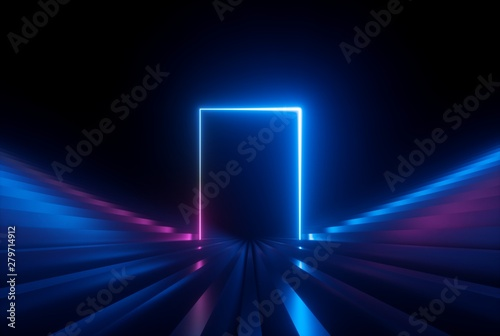 Foto  3d render, pink blue neon abstract background with glowing lines, ultraviolet li