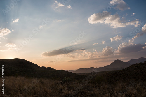 Door stickers Chocolate brown Landscape view of Big Bend National Park during the sunset in Texas.