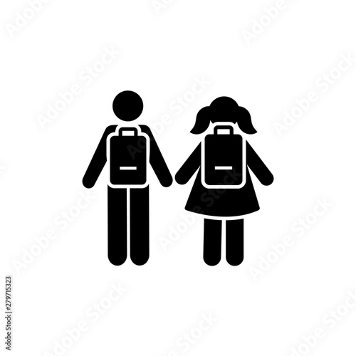 Fototapeta Man girl students classmates pictogram icon obraz
