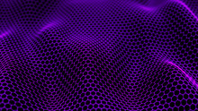 Abstract Dynamic Wave Of Connected Dots And Lines On Dark Background. Wave Of Bright Particles. Digital Technology Background. Big Data. 4K Illustration. 3d Rendering.
