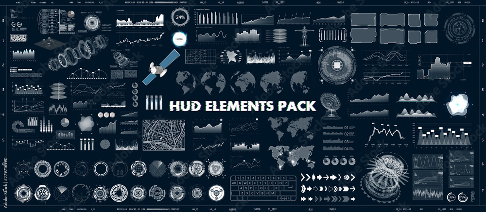 Fototapeta HUD design elements set for UI UX GUI projects. Data and statistic, infochart, infographic, chart and graphics.Futuristic Sci-fi User Interface for App (business, medicine, forex, finance, analytics)