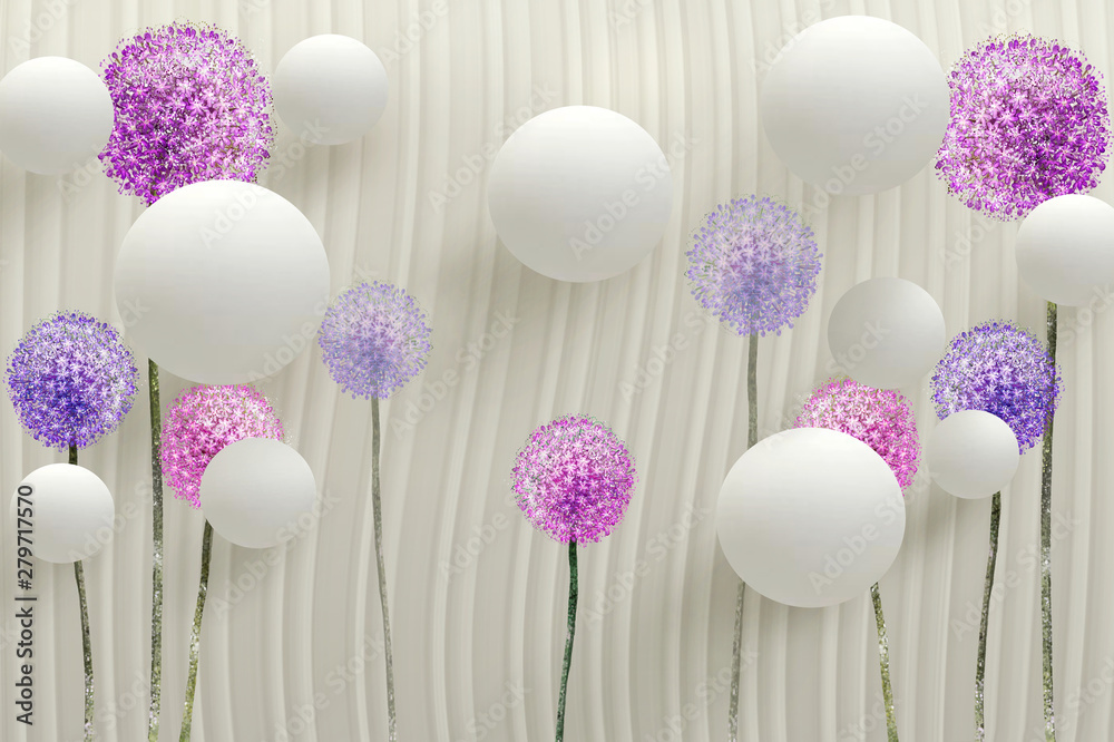Fototapety, obrazy: 3d wallpaper mural abstract background with gray circles, 3d ball and purple flowers