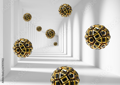 3d tunnel columns mural background with 3d balls modern wallpaper . will visually expand the space in a small room, bring more light and become an accent in the interior