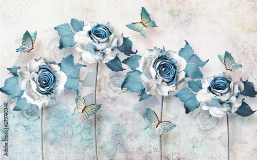 Photo sur Toile Papillons dans Grunge 3d mural wallpaper abstract background with butterfly and flowers . will visually expand the space in a small room, bring more light and become an accent in the interior
