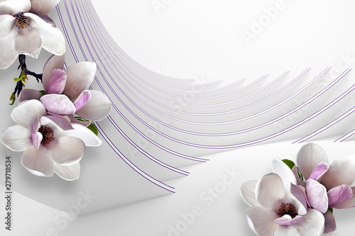 3d gray mural with flowers, will visually expand the space in a small room, bring more light and become an accent in the interior wallpaper